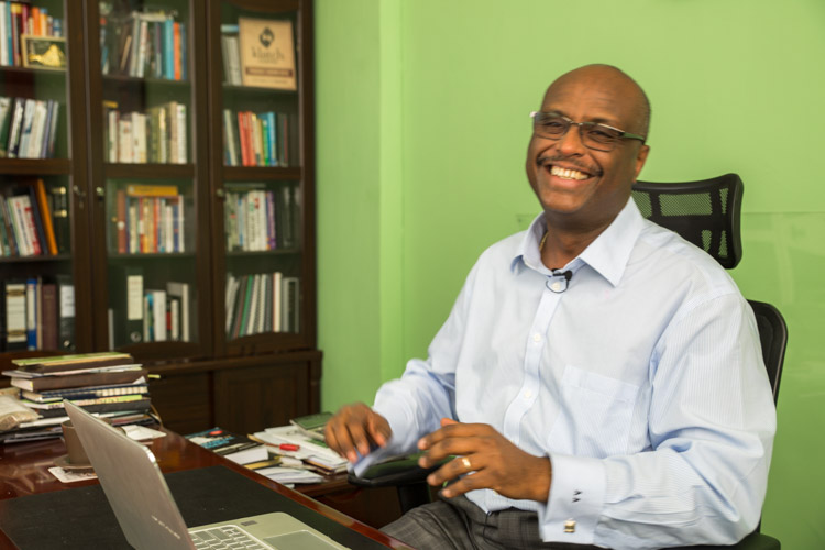 Aman Adinew in his office in Addis Ababa